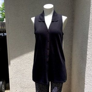 NY & Co black sleeveless polo tunic